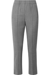Michael Kors Collection Stretch Wool Straight Leg Pants Gray