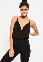 Missguided Active Black Wrap Front Yoga Top