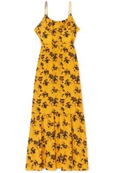 Michael Michael Kors Ruffled Floral Print Crepe Midi Dress Yellow