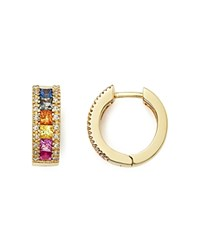 Bloomingdale's Multi Sapphire And Diamond Hoop Earrings In 14K Yellow Gold Gold Multi