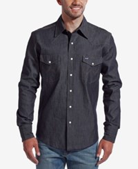 Wrangler Men's Authentic Western Style Long Sleeve Shirt Dark Blue Rinse