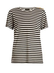 Balmain Button Embellished Striped T Shirt Black White
