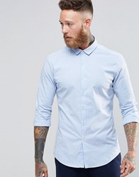 Asos Skinny Shirt In Blue Oxford Stripe With Long Sleeves Blue