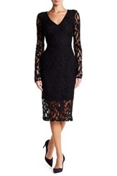 Rachel Roy Long Sleeve Back Cutout Lace Midi Dress Multi