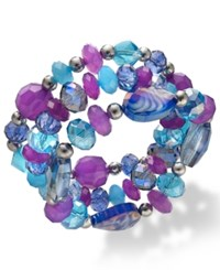 Styleandco. Style And Co. Silver Tone Purple And Blue Bead Three Row Stretch Bracelet Multicolor