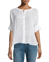 Eileen Fisher Button Front Organic Linen Gauze Top White