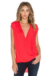 Heather Wrap Top Red
