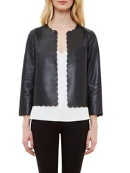 Ted Baker Caysee Scallop Detail Leather Jacket Black