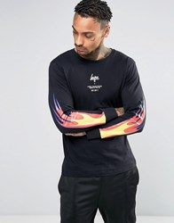 Hype Long Sleeve T Shirt With Fire Sleeve Print Black