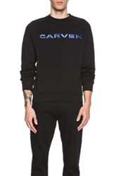 Carven Cutout Logo Cotton Sweatshirt In Black