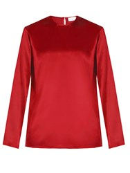 Raey Crew Neck Silk Satin Blouse Red