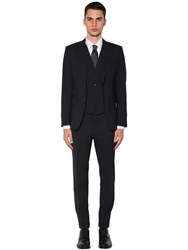 Dsquared London Three Piece Stretch Wool Suit Navy