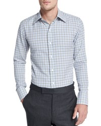 Tom Ford Tattersall Check Dress Shirt White Blue