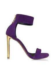 Roberto Cavalli Evening Purple Suede Sandal