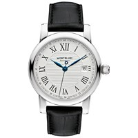 Montblanc 107114 Men's Star Date Automatic Stainless Steel Alligator Leather Strap Watch Black Silver