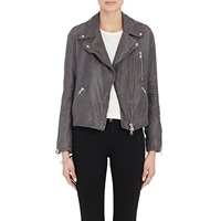 Barneys New York Leather Quilted Yoke Moto Jacket Charcoal