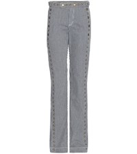 Chloe Rivet Embellished Striped Cotton Trousers Blue