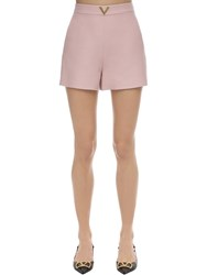 Valentino Metal V Logo Crepe Couture Shorts Light Pink