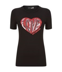 Love Moschino Sequin Heart T Shirt Black
