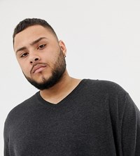 Burton Menswear Big And Tall V Neck Jumper In Charcoal Grey