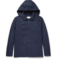 Mackintosh Bonded Cotton Hooded Rain Jacket Navy