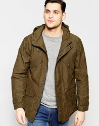 Lee Hooded Parka Waxed Cotton In Green Dark Army Green