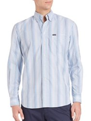 Faconnable Long Sleeved Checked Shirt Blue