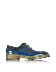 Forzieri Italian Handcrafted Blue And Gray Washed Leather Derby Shoe