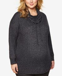 Motherhood Maternity Plus Size Cowl Neck Sweatshirt Charcoal