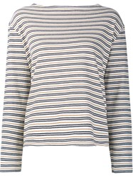 Wood Wood Striped Longlseeved T Shirt White