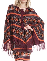 Plenty By Tracy Reese Graphic Fringed Poncho Folkloric