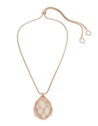 Kenneth Cole Under Construction Mother Of Pearl Geometric Cutout Pendant Necklace Rose Gold