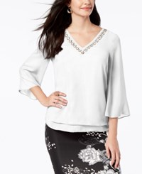 Thalia Sodi Ring Hardware Flare Sleeve Top Created For Macy's Warm Ivory