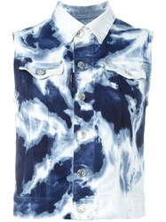 Dsquared2 Tie Dye Sleeveless Denim Jacket Blue
