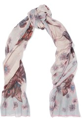 Valentino Pleated Printed Cotton And Silk Blend Scarf Blush