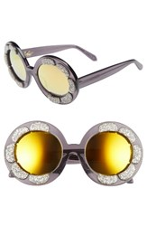 Vow London Women's Pixie Flower 48Mm Round Sunglasses Milky Black