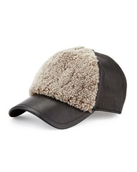 Rag And Bone Marilyn Leather And Shearling Fur Baseball Cap Natural