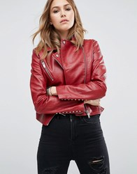 Mango Stud Detail Leather Look Biker Jacket Red