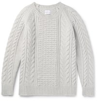 Kingsman Slim Fit Cable Knit Wool And Cashmere Blend Sweater Stone