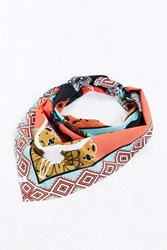 Urban Outfitters Uo Steer Skull Bandana Red Multi