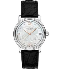 Montblanc 114957 Tradition Diamond Stainless Steel And Leather Watch