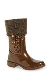 Posh Wellies Women's 'Colemanite' Rain Boot Bronze Faux Patent