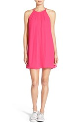 Junior Women's Lush Pleat Detail Chiffon Trapeze Dress Pink