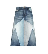 Current Elliott The Patchwork Denim Skirt Blue