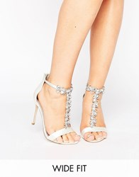 Asos Hermosa Wide Fit Bridal Heeled Sandals Ivory White