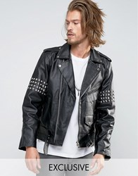 Reclaimed Vintage Leather Jacket With Studding Black