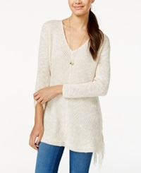 American Rag Juniors' V Neck Fringe Sweater Only At Macy's Oatmeal Combo