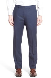 Men's Michael Kors Flat Front Check Wool Trousers Navy