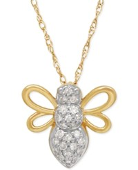 Macy's Diamond Bee Pendant Necklace 1 10 Ct. T.W. In 10K Gold Yellow Gold