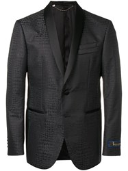 Billionaire Crocodile Effect Blazer Black
